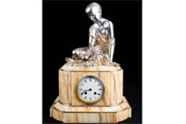 Empire Mantle Clock Onyx and Silver Plate