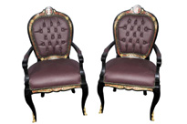 Pair French Boulle Arm Chairs Louis XV Fauteil