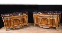 Pair French Empire Ornate Commodes