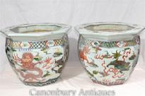 Pair Qianlong Chinese Porcelain Planters
