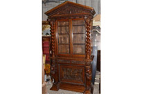 Large English Antique Carved Bookcase
