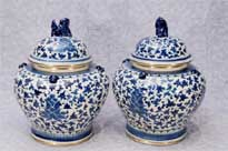 Pair Chinese Blue and White Porcelain Lidded Urns