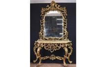 Antique Italian Rococo Mirror and Console Table Set