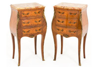 Pair Shaped French Nightstands
