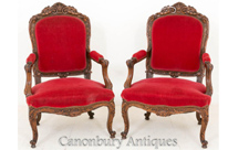 Pair Antique Walnut French Salon Chairs