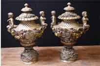 Art Nouveau Antique Bronze Garden Urns