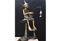 Bronze Fishing Pixie Statue