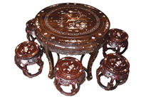 Antique Chinese Hardwood Table Stool Dining Set