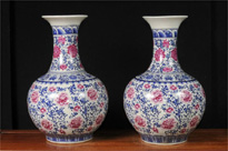 Pair Chinese Famile Rose Porcelain Vases