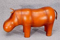 Leather Hippo Statue Foot Stool
