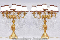 Pair French Empire Gilt Table Lamps