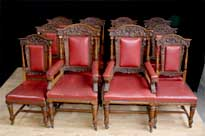 Set 12 Antique Oak Carved Dining Chairs