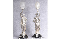 Silver Plate Gregoire Bronze Lamps