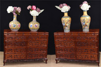 Pair Large Hand Carved Chinese Commodes