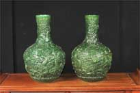 Pair Chinese Green Cinnabar Lacquer Dragon Vases