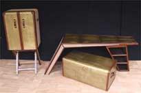 Art Deco Campaign Desk Chest Cabinet Set Writing Table