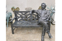 Bronze Garden Bench with Lifesize Albert Einstein