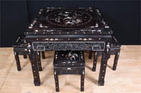 Chinese Antique Dining Set Stool Table Mother of Pearl Inlay