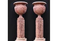 Pair Large Italian Marble Pedestal Urns