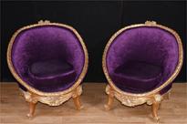 Pair French Empire Gilt Tub Seats