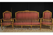 French Empire 3 Piece Suite Sofa