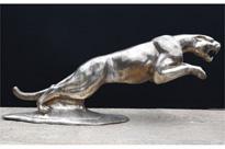 XL Silver Bronze Jaguar Statue Panther Casting