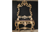 Italian Rococo Painted Gilt Console Table and Mirror Set