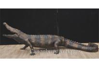 Lifesize Bronze Crocodile Statue Casting