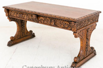 Antique Carved Oak Library Table Baroque Writing Table Desk