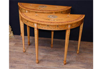 Pair Painted Half Round Console Tables