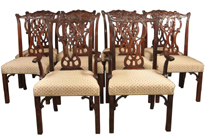 Set 10 Mahogany Chippendale Dining Chairs