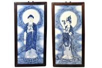 Pair Chinese Nanking Blue and White Porcelain Plaques