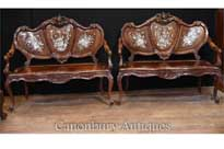 Pair Antique Chinese Antique Love Seats Mother of Pearl