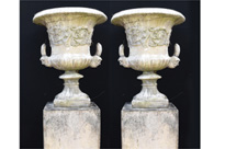 Pair English Stone Garden Urns