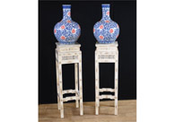 Pair Chinese Bone Carved Pedestal Stand