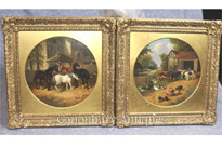 Pair Antique Oil Paintings Rustic Farm Scene