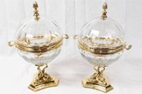 Pair Russian Czar Alexander Caviar Server Bowls