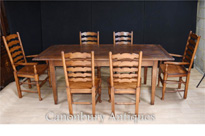 Oak Refectory Table Set 6 Ladderback Chairs