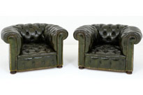 Pair Antique Leather Deep Button Arm Chairs