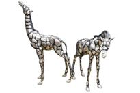 Pair Big Silver Bronze African Giraffe Statues