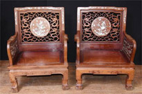 Antique Chinese Hardwood Arm Chairs Mother Of Pearl