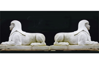 Pair Large Stone Sphinxes