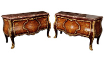 Pair French Empire Bombe Marquetry Commodes