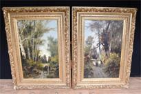 Pair Antique Italian Landscape Oil Paintings