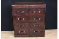 Leather Campaign Chest Drawers Colonial
