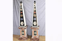 Pair Large Antique Italian Marble Obelisks