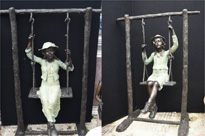 Lifesize Bronze Boy and Girl Swing Garden Statue