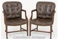 Pair Hepplewhite Elbow Chairs