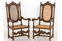 Pair Oak Carolean Farmhouse Arm Chairs