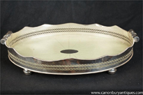 Victorian Silver Plate Butlers Tray Shagreen